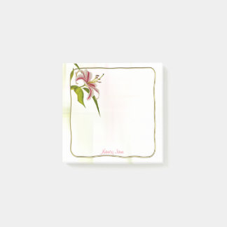 Personalize: Red and White Lily Floral Photography Post-it Notes