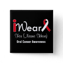Personalize Red and White Ribbon Oral Cancer Pinback Button
