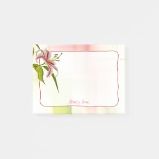 Personalize:  Red and White Star Lily Floral Photo Post-it Notes