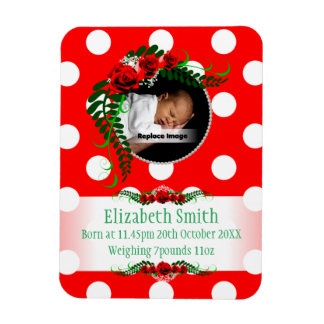 Personalize Red Baby Girl Memento Roses Pearls Rectangular Photo Magnet