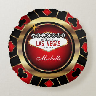 Personalize Red , Black and Gold Poker Chip Round Pillow