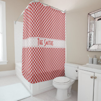 Personalize:  Red Gingham Check Diagonal Pattern Shower Curtain