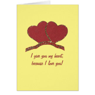 Personalize Red gold heart love Card