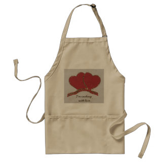 Personalize Red heart gold sparkle Valentine's Adult Apron