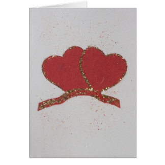 Personalize Red heart gold sparkle Valentine's Card