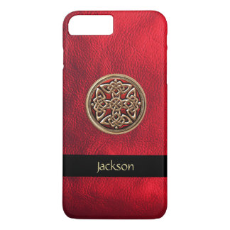 Personalize Red Leather Celtic Knot iPhone 7 Case