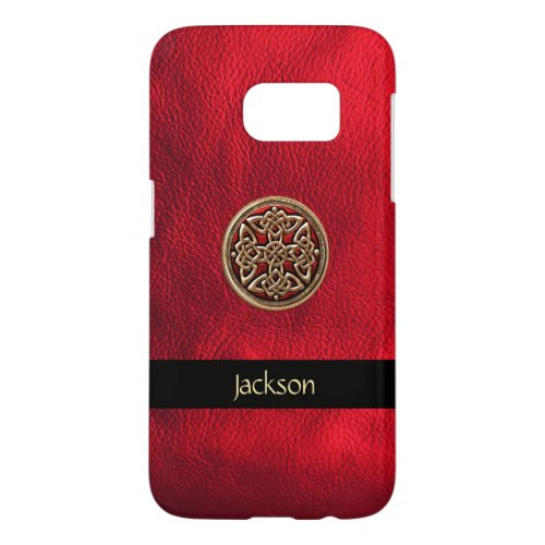 Personalize Red Leather Look Celtic Knot