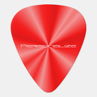 Personalize Red Metallic Print Guitar Pick