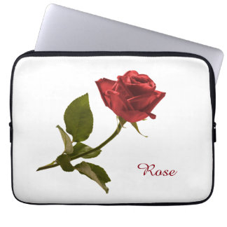 Personalize: Red Rose Floral Photo Transparent BG Computer Sleeve