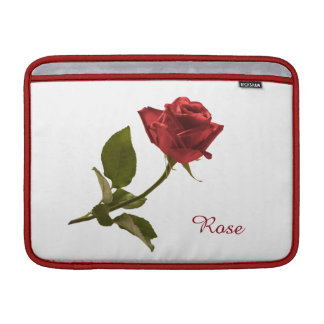 Personalize: Red Rose Floral Photo Transparent BG Sleeves For MacBook Air