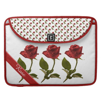 Personalize: Red Rose Floral Photo Transparent BG MacBook Pro Sleeve