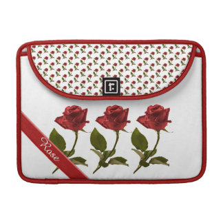 Personalize: Red Rose Floral Photo Transparent BG Sleeves For MacBook Pro