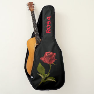 Personalize:  Red Rose Floral Photography Cut Out Guitar Case