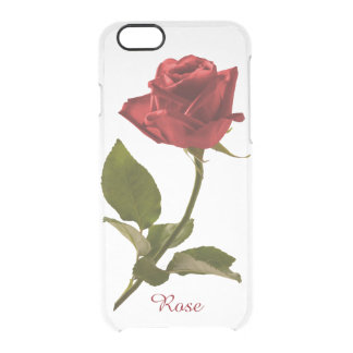 Personalize: Red Rose Floral Picture Clear iPhone 6/6S Case