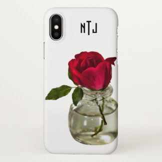 Personalize: Red Rose in Bottle Floral Photography iPhone X Case