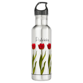 Personalize:  Red Tulip Floral Photography 24 oz Water Bottle