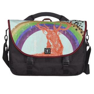 Personalize Retro Rainbow Pine Tree Collage Laptop Laptop Bag