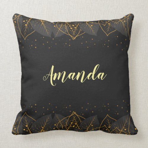 Personalize Reversible Black with Gold Leaf Border Throw Pillow