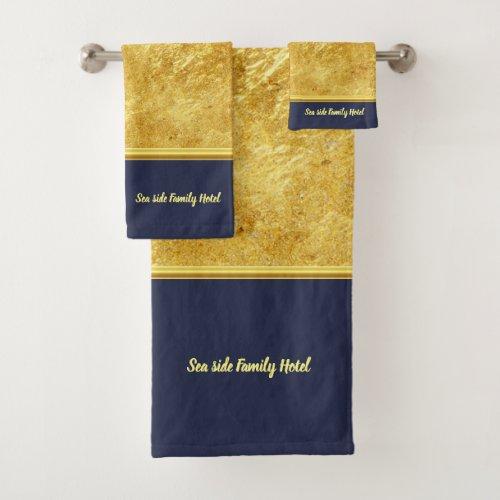 Personalize romantic modern gold foil with blue bath towel set