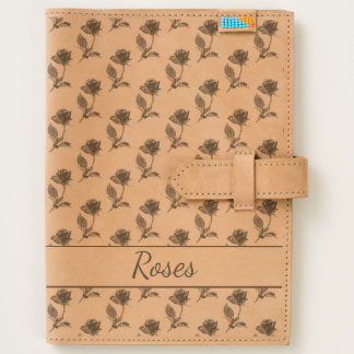 Personalize Rose Picture Pattern Etched on Leather Journal