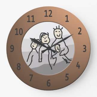 Personalize Round Brass Framed Photo Large Clock