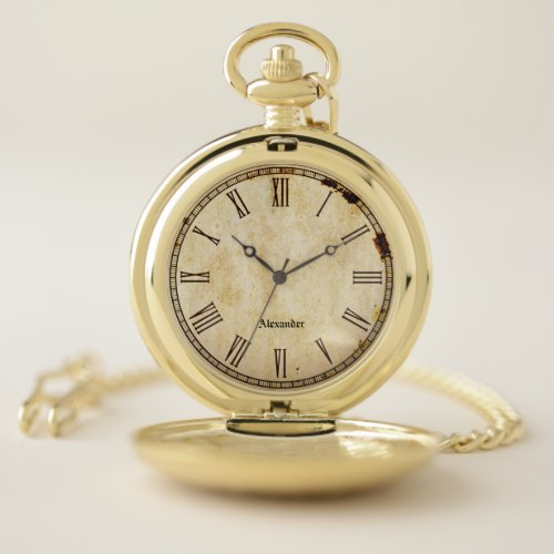 Personalize:  Rustic Vintage Roman Numerals Pocket Watch