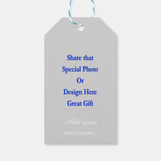 Personalize Same Image\Text Both Sides White Text Gift Tags