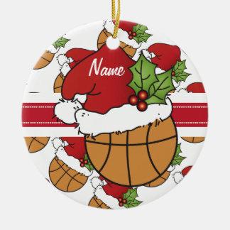 Personalize Santa Hat Christmas Basketball Ceramic Ornament