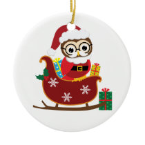 Personalize Santa Owl Christmas Ornament