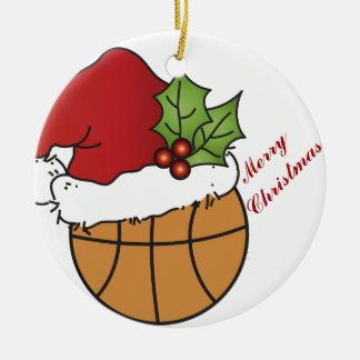 Personalize Santa's Hat Basketball Christmas Double-Sided Ceramic Round Christmas Ornament