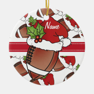 Personalize Santa's Hat Christmas Football Ceramic Ornament
