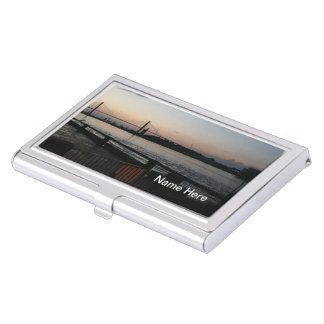 (Personalize) Savannah River on River Street Photo Case For Business Cards