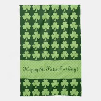 Personalize Shamrock Polka dots St. Patrick's Day Hand Towel