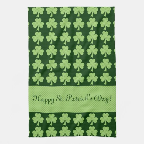 Personalize Shamrock Polka dots St. Patrick's Day Hand Towel