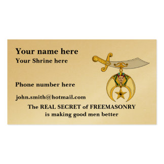 Personalize Shriners Business Card