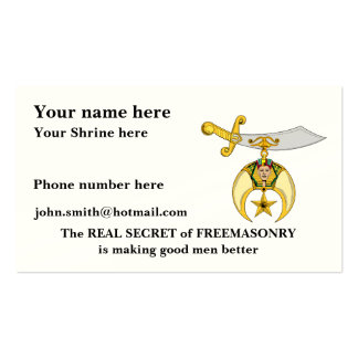 PERSONALIZE SHRINERS' EMBLEM BUSINESS CARD