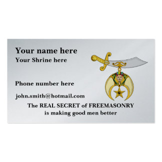 PERSONALIZE SHRINERS' EMBLEM BUSINESS CARDS