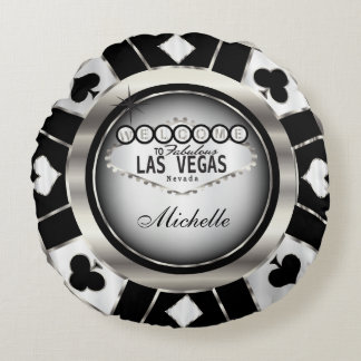 Personalize Silver, Black and White Poker Chip Round Pillow