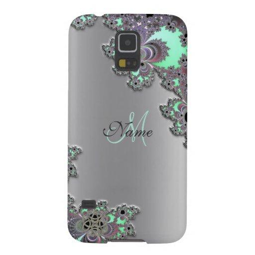 Personalize Silver Metallic Fractal Galaxy S5 Case