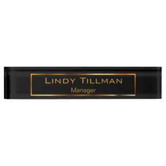 Personalize, Simple Black & Gold Name Plate