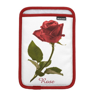 Personalize: Single Red Rose Floral Photo iPad Mini Sleeves