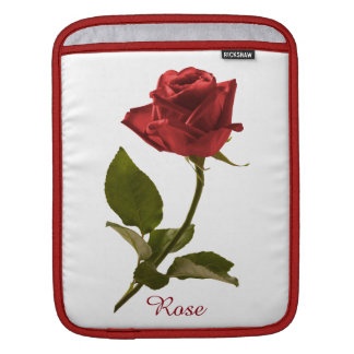 Personalize: Single Red Rose Floral Photo Sleeve For iPads