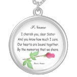 PERSONALIZE SISTER-NECKLACE ROUND PENDANT NECKLACE