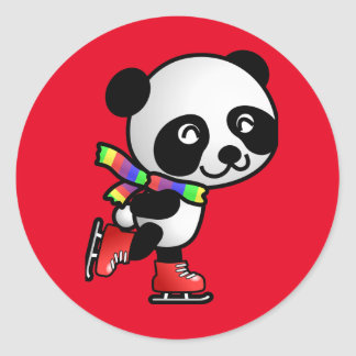 Personalize SKATE PANDA GIFT FOR BEAR CRAZY GIRL ! Classic Round Sticker