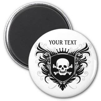 Personalize Skull Crest 2 Inch Round Magnet