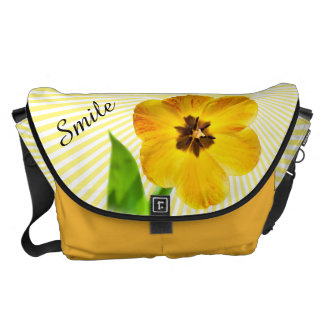 """Personalize: """"Smile"""" Yellow Tulip Pic and Sunshine Courier Bag"""