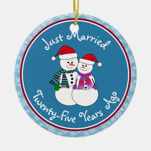 Personalize-Snow Couple 25th Wedding Anniversary Ornament