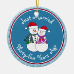 Personalize-Snow Couple 35th Wedding Anniversary Christmas Tree Ornament