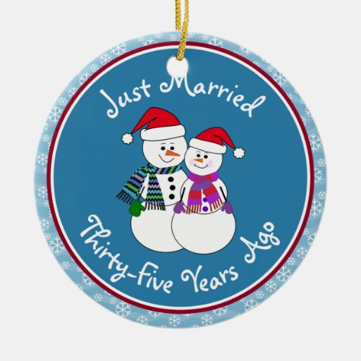 Snowman couple anniversary gifts 35th christmas christmas for Engagement christmas tree ornaments