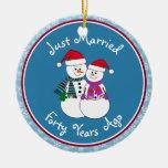Personalize-Snow Couple 40th Wedding Anniversary Ornament